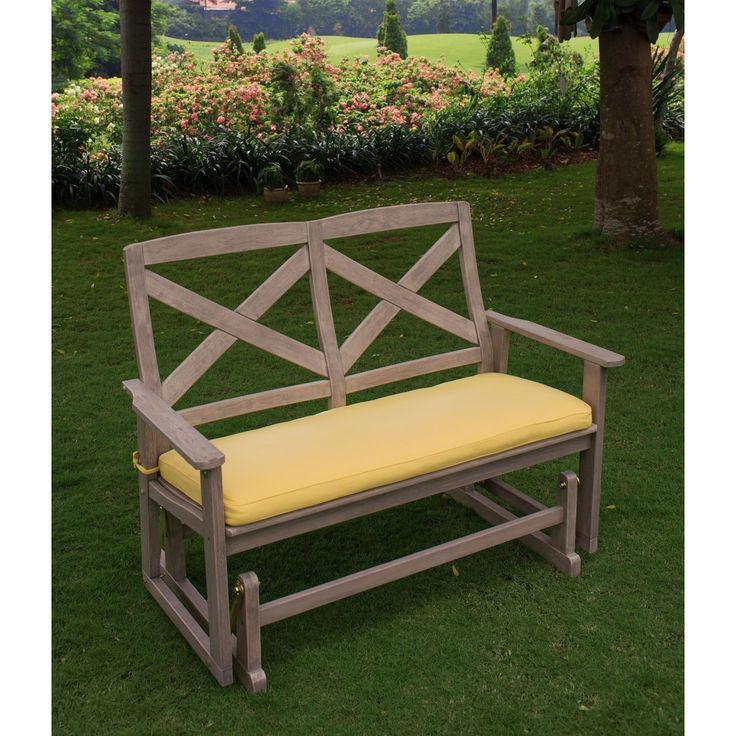 Bring comfort and style into any garden or porch with this glider bench. Coming with a yellow seat pad, gliding abilities, and contoured seat and back, this bench is sure to provide ample comfort.