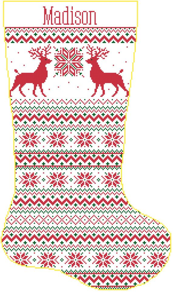 Cross Stitch Christmas Stocking Band Reindeer and Snowflakes with Name