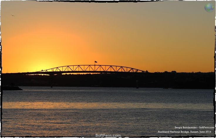 New Zealand iconic  construction -  Auckland Harbour Bridge. Sunset.        New Zealand is No 4 among the happiest, richest and healthiest countries. ... 32  PHOTOS        ... Prosperity Index ranks 142 countries across eight categories        Posted from:          http://softfern.com/NewsDtls.aspx?id=1050&catgry=7            #photos by SoftFern, #Sergiy Bondar, #No 4 among the happiest