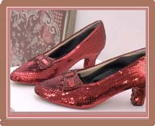 Ruby slippers, Judy Garland Museum - Grand Rapids, MN. The adjacent museum gallery showcases a wide variety of artifacts from Judy's musical and theatrical career, personal awards and effects, movie memorabilia and the carriage used in the Wizard of Oz. An extensive gift shop is filled with Wizard of Oz and Judy Garland items.