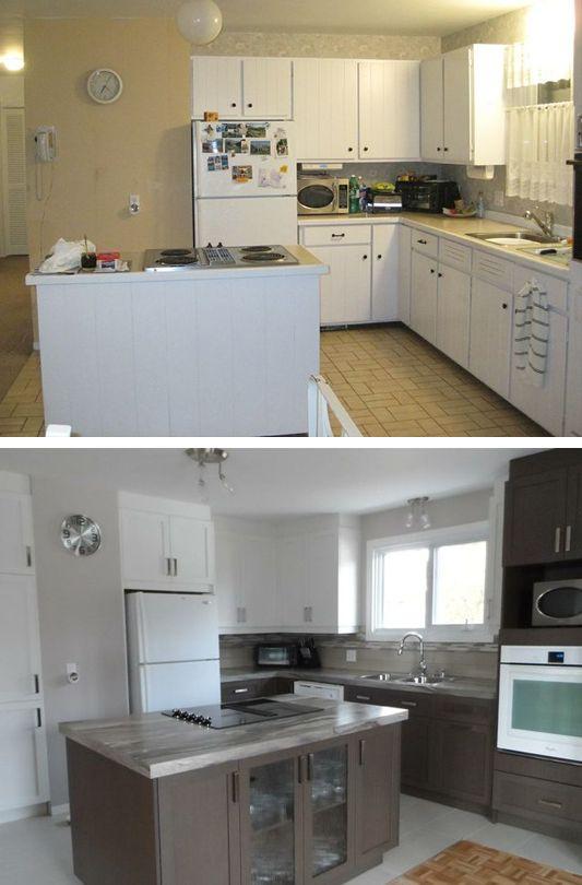 Superbe transformation de cuisine , Avant & Après. http://www.cuisinesaction.com