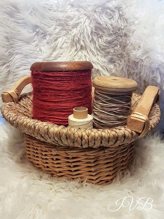 One of a kind vintage wicker straw and wood basket wicker