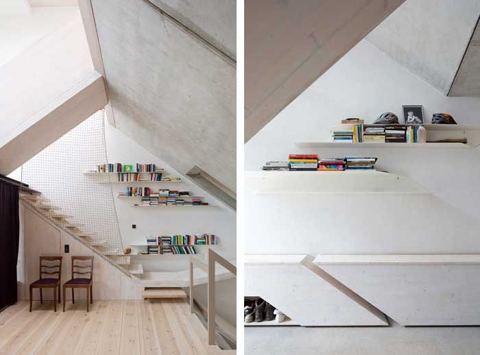 Staircase and shelving at B14 townhouse Berlin by XTH-Berlin. Photos Andreas Meichsner.