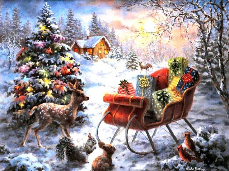 103 best Christmas  Winter  Art Scenes images on Pinterest