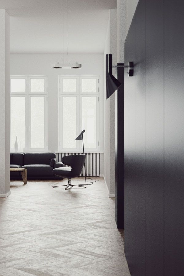 Sleek interior with fantastic chevron floor   NordicDesign
