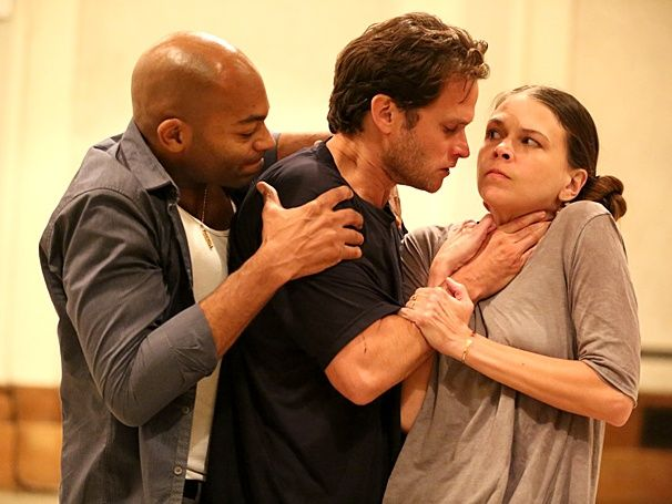 Brandon Victor Dixon, Steven Pasquale and Sutton Foster in rehearsal for THE WILD PARTY