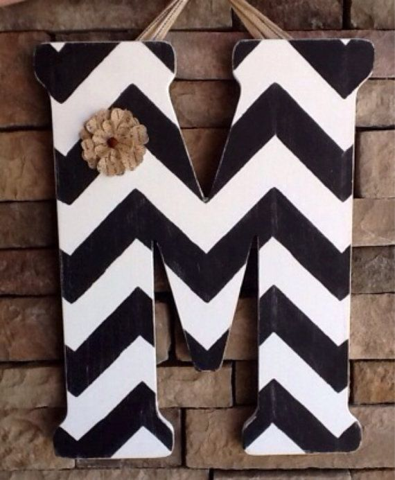 Chevron Wooden Letter Large Wooden Letter by SewSimple4you on Etsy