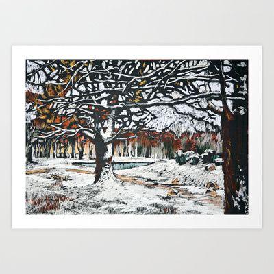 Winter oaks. Soft pastel painting. Landscape.  Art Print by Kira Sokolovskaya - $14.48