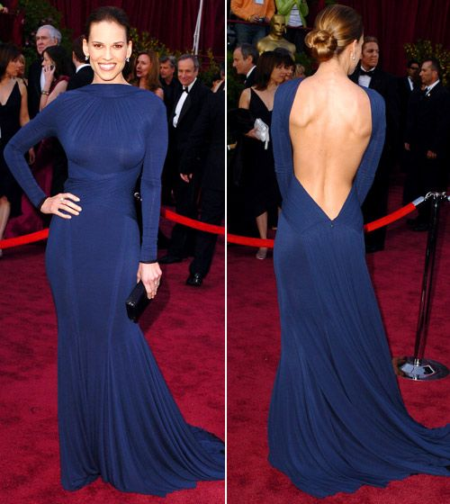 oscar throwback. one of my all-time faves. hilary swank in Guy Laroche '05