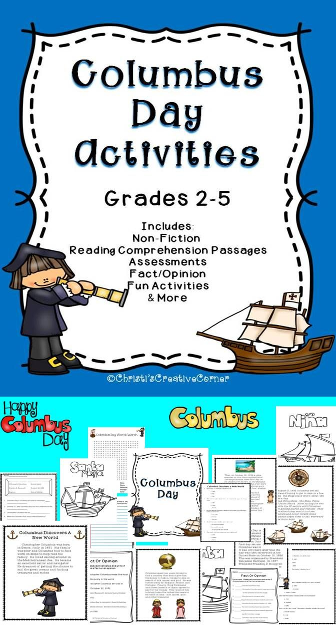 Columbus Day Activities Includes: Non-Fiction Reading Comprehension Passages Assessments Fact/Opinion Fun Activities & More