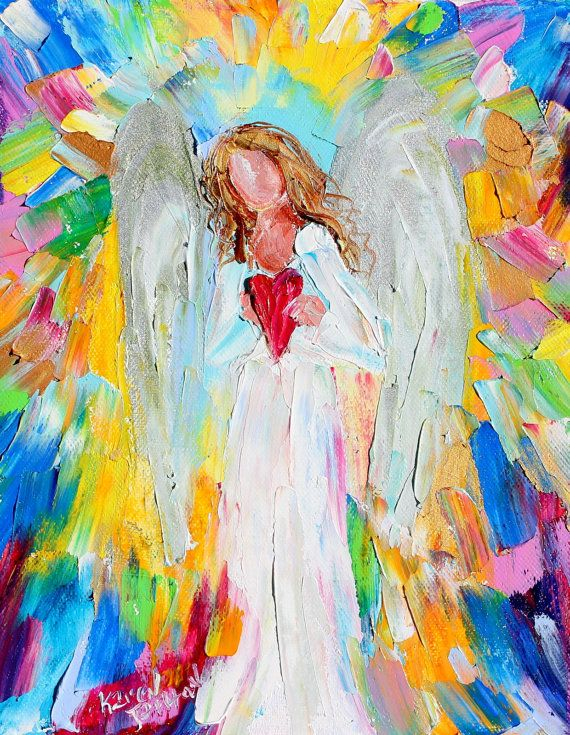 Original oil painting #Angel of my Heart abstract by Karensfineart
