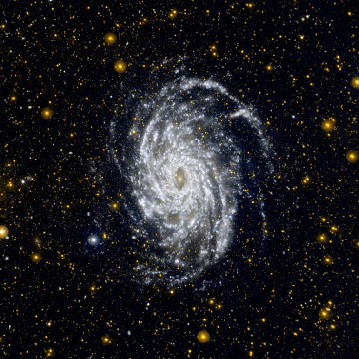 This image from NASA's Galaxy Evolution Explorer shows NGC 6744, one of the galaxies most similar to our Milky Way in the local universe. This ultraviolet view highlights the vast extent of the fluffy spiral arms, and demonstrates that star formation can occur in the outer regions of galaxies.