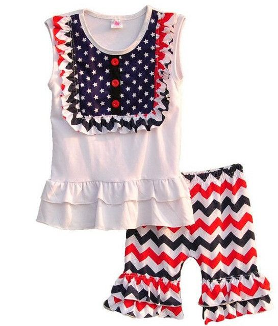4th of July Children Girl Clothing Sets Kids Round Neck Sleeveless Summer Baby Clothes Chevron Pants Sets with Stars J003