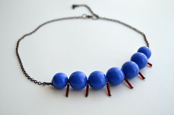 Cobalt Blue Beaded Necklace Blue brown necklace summer by civcakli