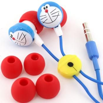 doraemon earphones. I want! got my doraemon power bank, doraemon USB cord and doraemon selfie pod.