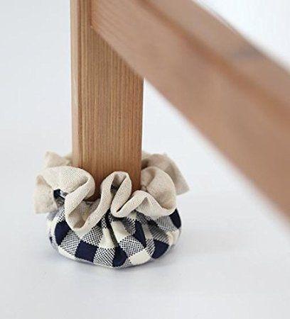Black Check Handmade 4p Set Chair Socks Floor Protector