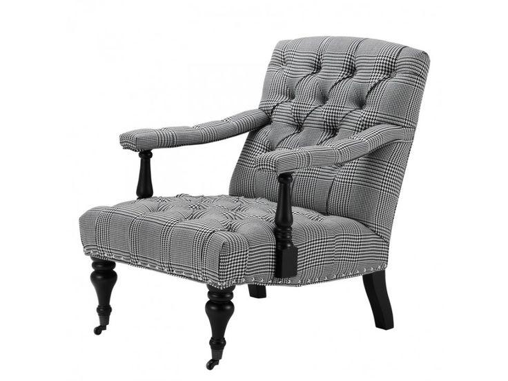 Fotel Carson czarno-biały — Fotele Eichholtz® — sfmeble.pl