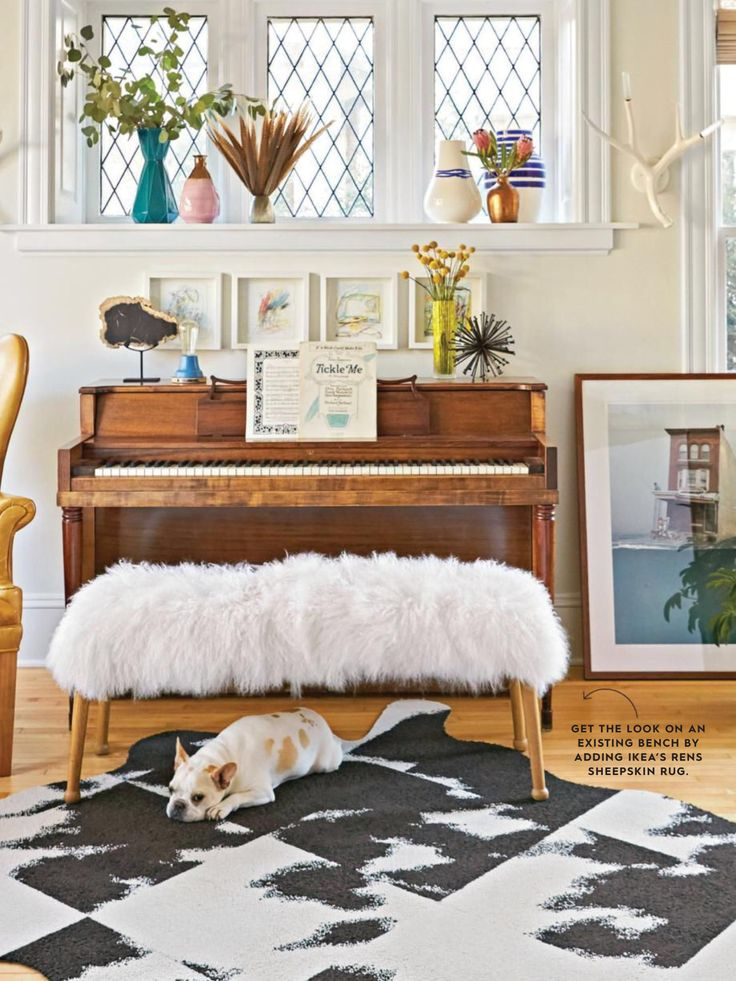 Add Cushion And Faux Fur To Coffee Table To Make Bench