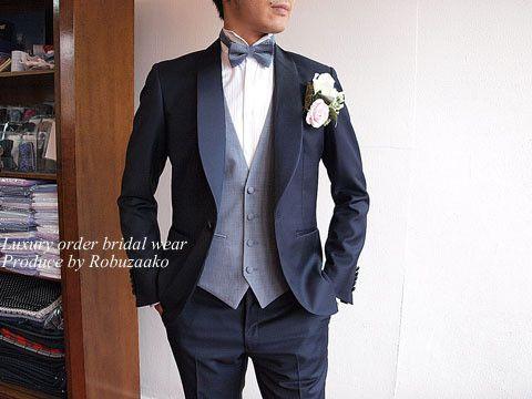 新郎様タキシードをもっとオシャレに着こなす個性のあるコーディネート の画像|大阪・阿倍野|オーダースーツ大阪 ロブザーコ オーダースーツ|結婚式タキシード|新郎衣装|オーダーシャツ等 神戸|奈良|京都でも好評中
