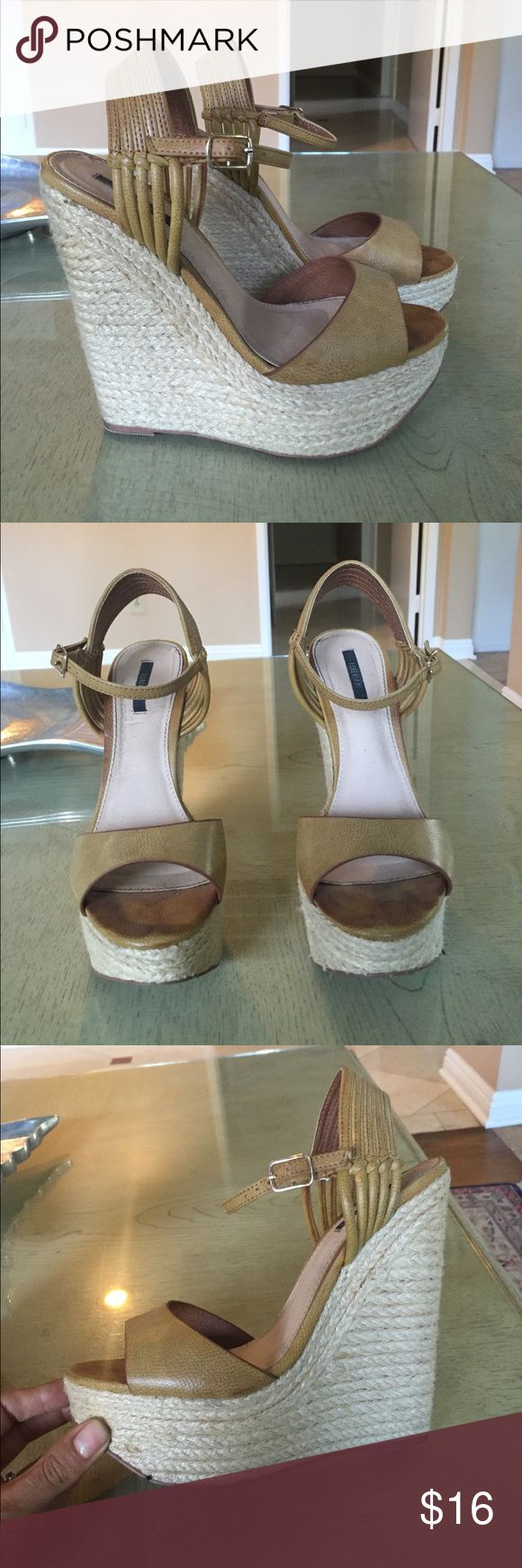 Beige espadrille wedges Great condition. About 5.5 inch heel with about 1.5 inch platform Shoes