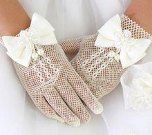 guanti ragazza di fiore guanti da sposa per bambini vestito bambina accessori costume gentlewomen perla pizzo(China (Mainland))