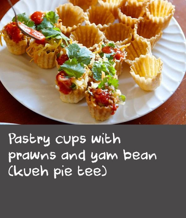 Pastry cups with prawns and yam bean (kueh pie tee) | The pastry shells are made using a special mould called a pie tee. As the moulds are difficult to find in Australia, we've substituted wonton wrappers and baked them in a mini-muffin pan to mould them.