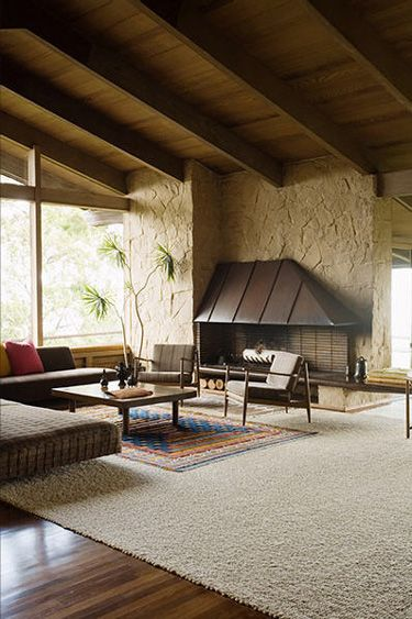 modern living room; fireplace, phenomenal natural light, the carpet looks like its been cut from a sheep. open, open-ness, there's a plant.