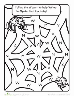The Letter W: A Maze Worksheet