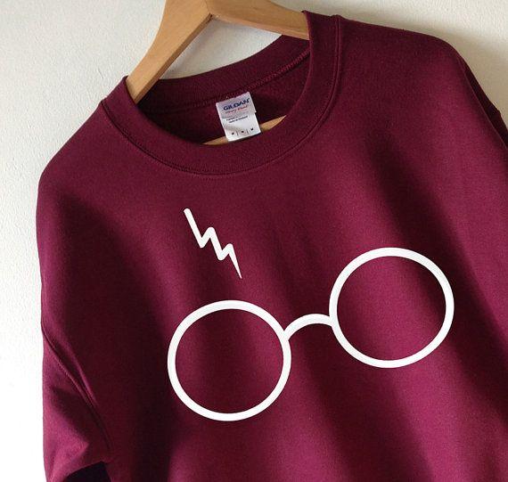 Harry Potter Sweatshirt Lightning glazen trui bemanning hals hoge kwaliteit scherm afdrukken Super zachte fleece gevoerde…
