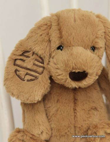 These monogrammed Jellycat dogs will become your baby or toddler's favorite lovey!