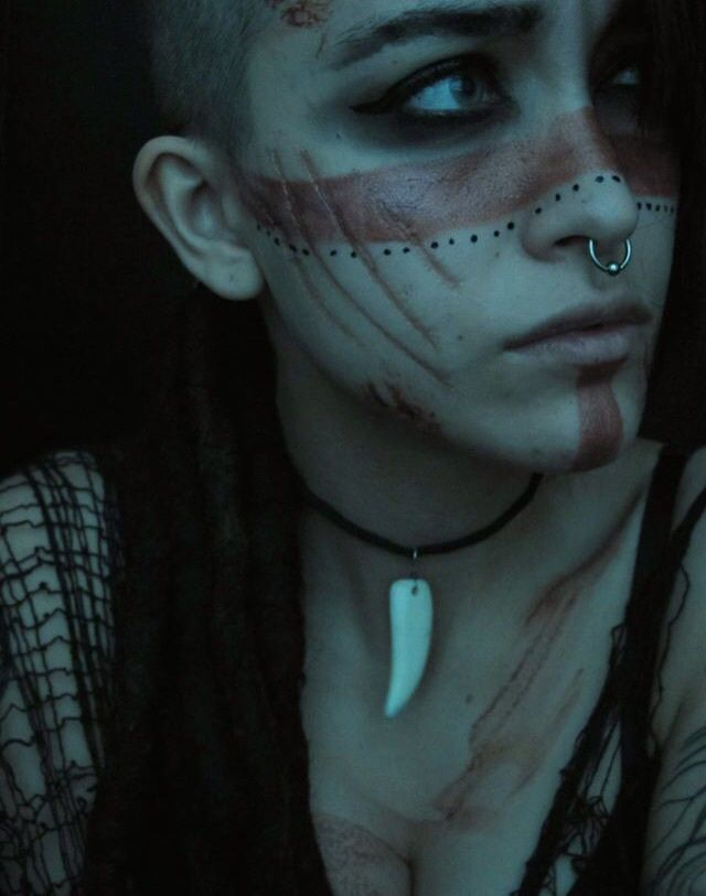 ~  earth warrior ~ / wasteland makeup / face paint reference / tribal post apocalyptic / women's fashion / cosplay / costume