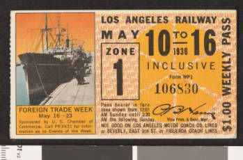 Los Angeles Railway weekly pass, 1936-05-10 :: LA as Subject
