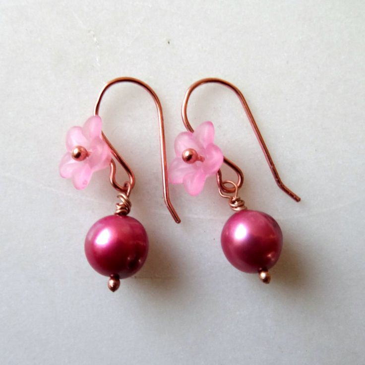 Pink pearl earrings, pink lucite flowers, deep rose pink genuine freshwater cultured pearl dangles, rose gold, bridal jewellery, bridesmaids - pinned by pin4etsy.com