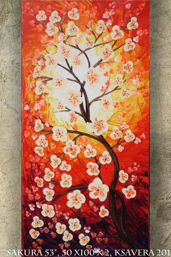 CHERRY BLOSSOMS art SAKURA Tree love painting by KsaveraART