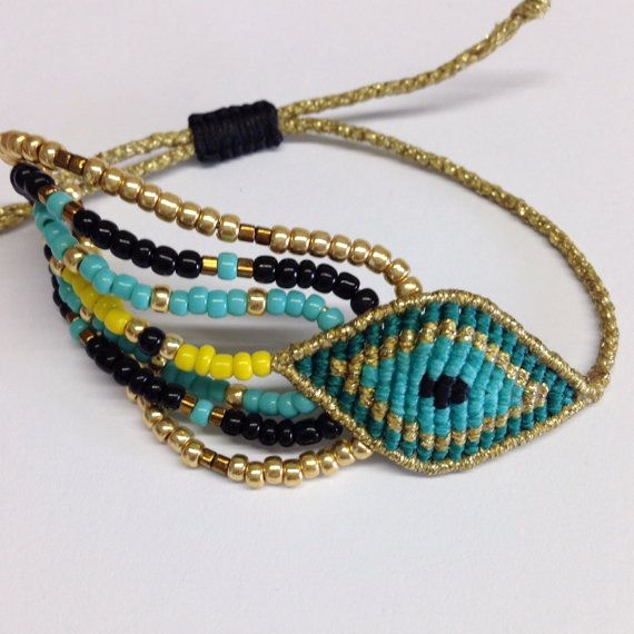 Gold and turquoise macrame eye bracelet with beads