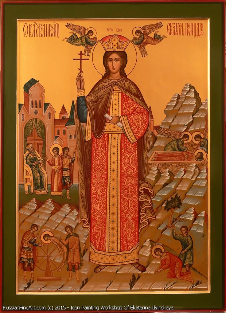 http://www.russianfineart.com/catalog/prod?productid=23346 Saint Martyr Catherine icon Materials wood primer canvas tempera gold leaf Master Icon Painting Workshop Of Ekaterina Ilyinskaya