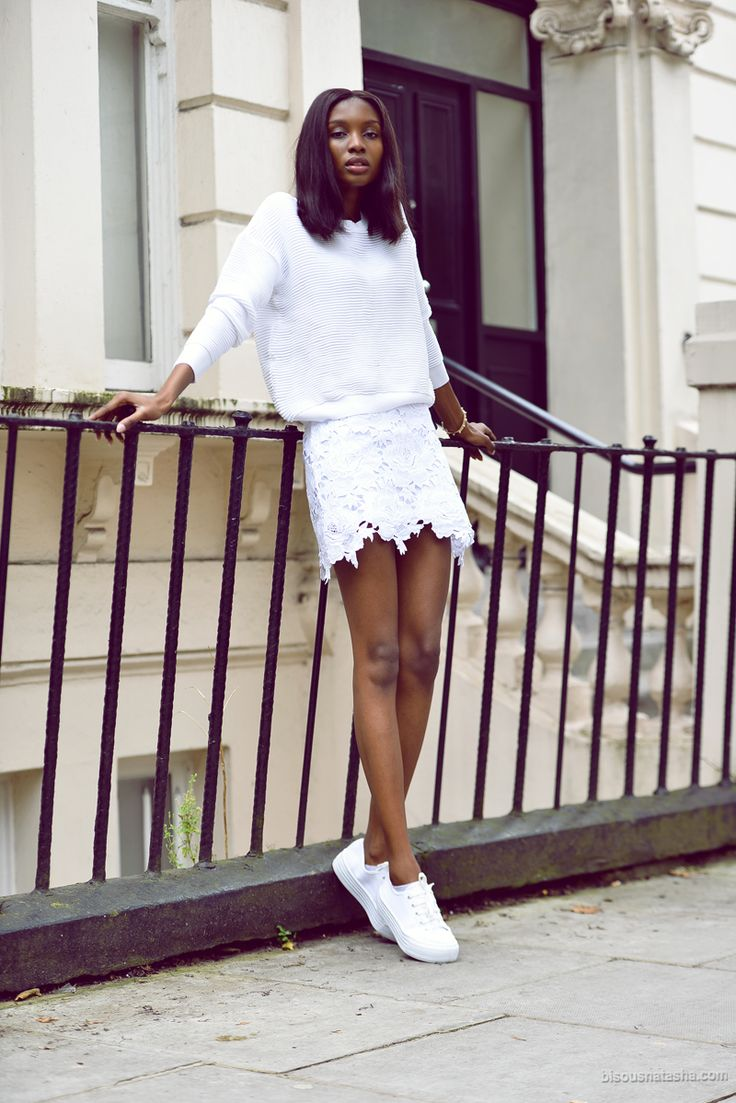 All white, sneakers, lace skirt, Bisous Natasha, fashion blogger, Summer, TOPSHOP