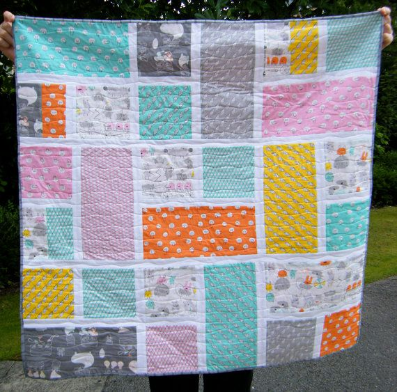 Baby Quilt - Toddler Blanket, Patchwork Throw - Organic Fabric - Monsterz by Cloud9 Simple ...