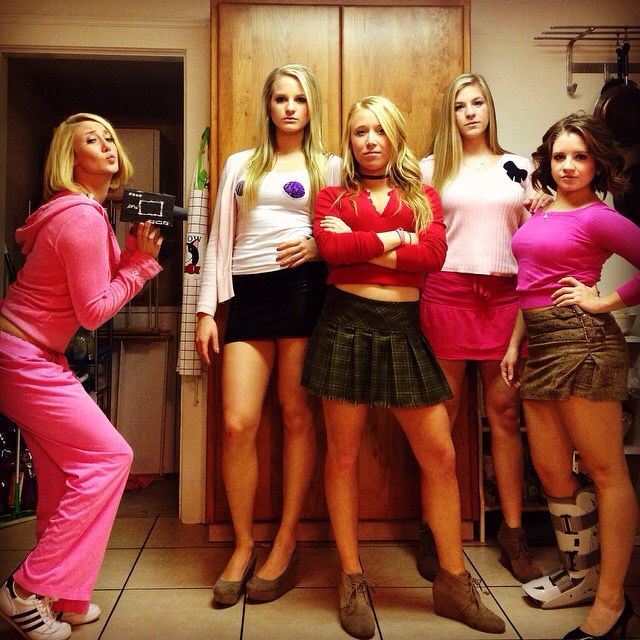 Mean girls costume. Regina, Karen, Gretchen, Cady. Halloween costume, party costume, costume party, group costume, college costume, girls group costume, funny costume.