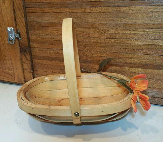 Vintage Hand Weaved Basket, Twig, Bamboo, Modern Farmhouse, French Country, Garden Gathering Harvest Market Light Wood, Fruit, Twig, Large