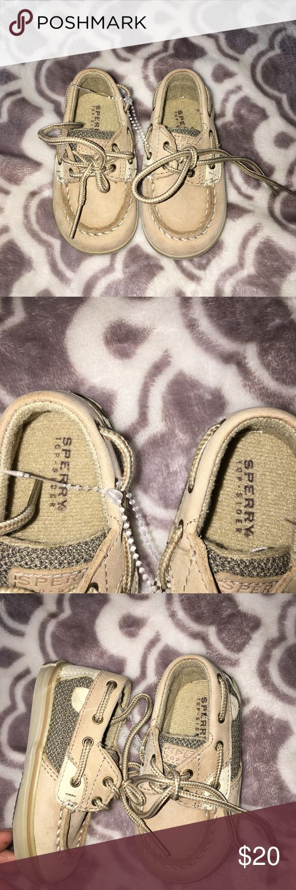 NWOT Sperrys! adorable little baby sperrys! these are new just without the tags and have never been worn! they are still attached with the little tie! They do have some markings on the bottom of one of the shoes but can be easily cleaned with a little tlc , but it's not noticeable when wearing at all!! no other flaws!💜🌺 Sperry Top-Sider Shoes Baby & Walker