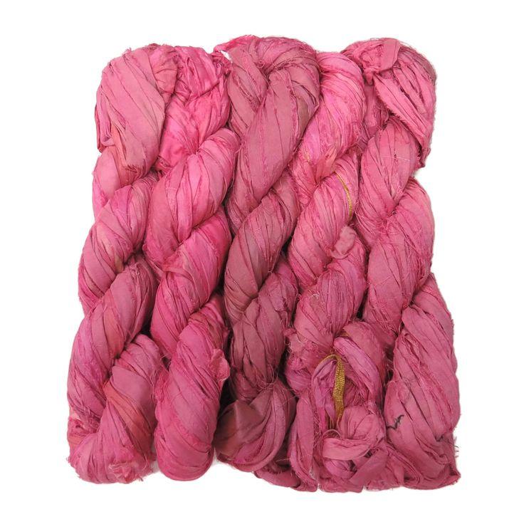 New! Premium Sari Silk Ribbon yarn , 100g , color: Rose Lipstick