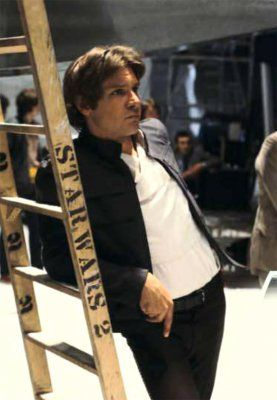 """Harrison Ford - Han Solo on the set of Star Wars.  Look at that swag! <--- Did you REALLY just say """"swag""""? You stuck-up, half-witted, scruffy-looking nerd herder!!!"""