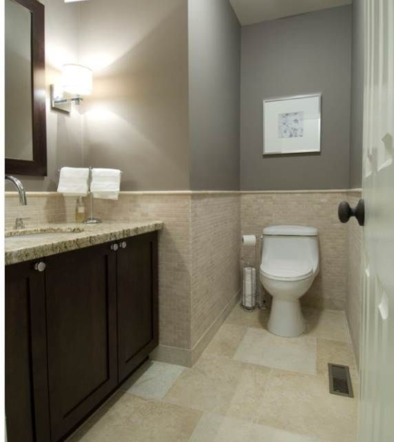 bathroom gray paint with beige tile for the home