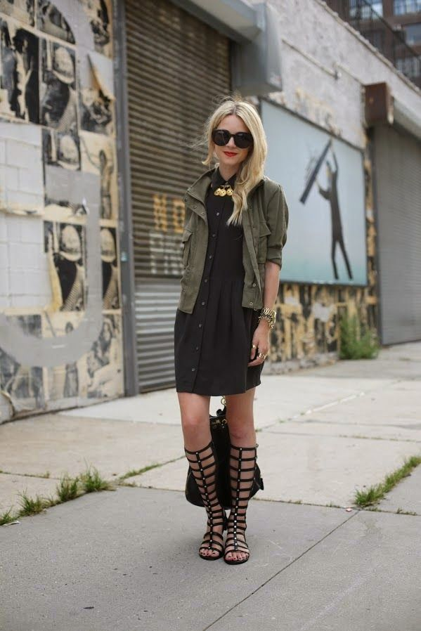 army jacket, fall outfits, fall trends, black shirtdress, atlantic-pacific, gladiator sandals