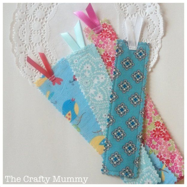 DIY Sewing Gift Ideas for Adults and Kids, Teens, Women, Men and Baby - Lovely Fabric Scrap Bookmarks - Cute and Easy DIY Sewing Projects Make Awesome Presents for Mom, Dad, Husband, Boyfriend, Children http://diyjoy.com/diy-sewing-gift-ideas