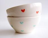 Керамические чаши вложения в Тил и Coral Hearts-Комплект из 2 - керамика RossLab (под заказ)