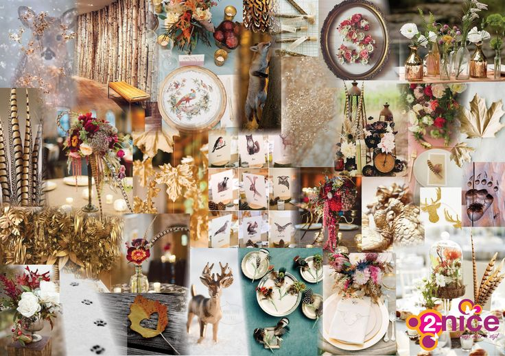 www.2-nice.nl, Impression, Collage, Moodboard, Design, Wood, Autumn, Herfst, Landgoed, Landhuis, Chique, Stijlvol, Bos, Dieren, Veren, Flowers, Event, Styling, Decoration