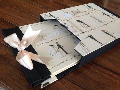 Conjunto de libro de firmas y estuche para una boda
