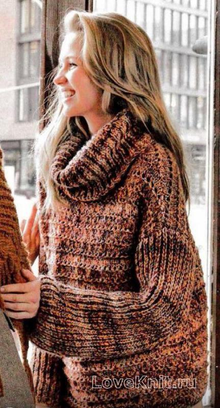 Спицами свитер оверсайз с большим воротником фото к описанию